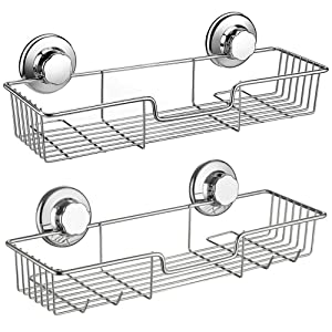 Slideep Suction Cup Shower Caddy, Bathroom Organizer Basket Shelf with Hooks, Deep Bathroom Storage Kitchen Organizer Basket Accessories, No Drilling Wall Mounted, Rustproof Stainless Steel, Set of 2