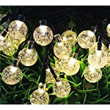 ANPHSIN Solar String Light-Outdoor Lamps 20ft 30 LED for Home Decoration- Crystal Ball Warm White