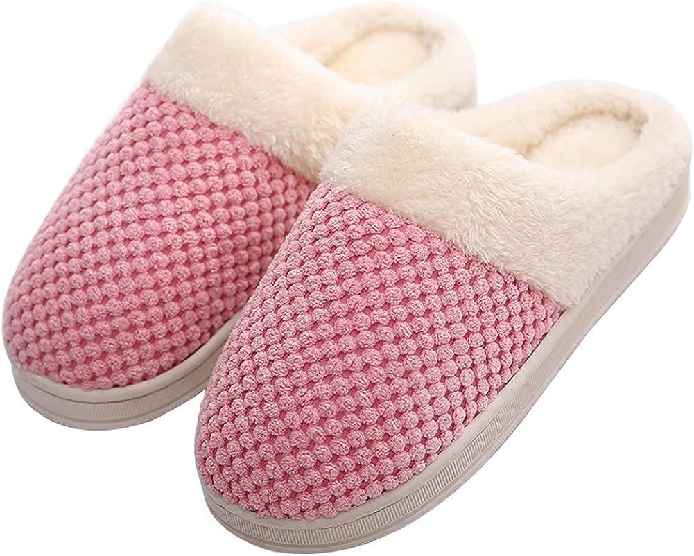 WGFGXQ Men and Women Plush Cotton Slippers Autumn and Winter Home Non-Slip Warm Slippers
