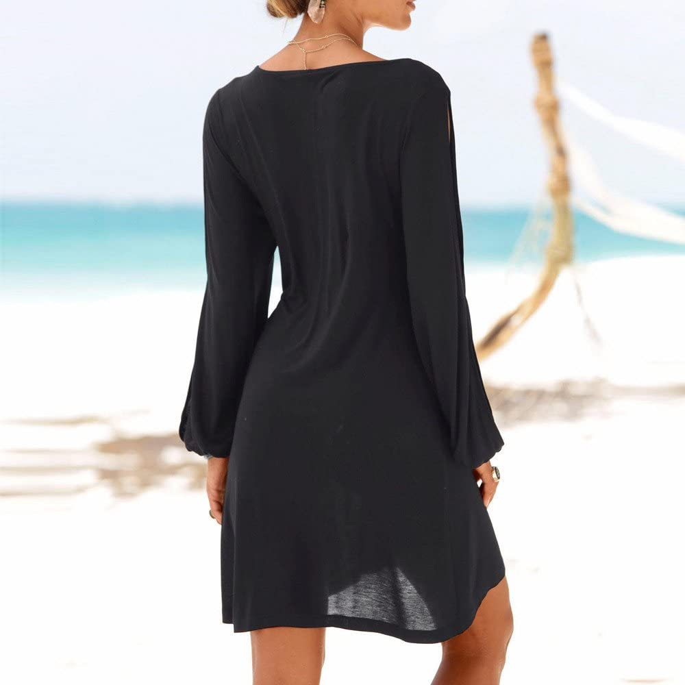 iLUGU Lively Mini Dress for Women Split Long Sleeve O-Neck Beach Style Casual Solid Color Gown