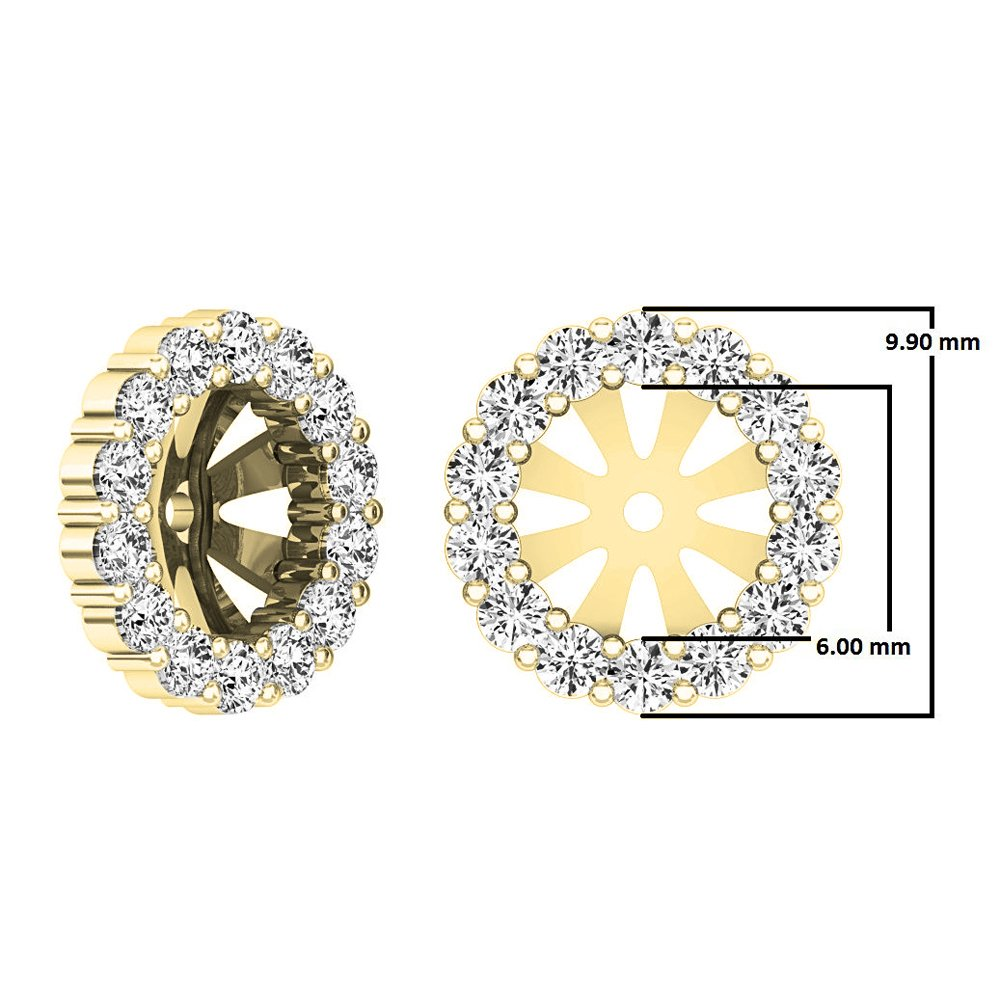0.65 Carat (ctw) 10K Yellow Gold Round Cut Diamond Removable Jackets For Stud Earrings