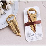 Retro Bottle Opener, Feather Shape Alloy Tool Wedding Party Birthday Baby Shower Favor Gift Souvenirs,Tuscom