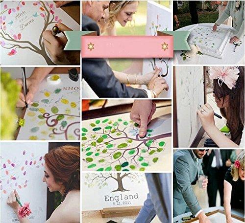 Pollice stampa albero tela libro degli ospiti matrimonio impronte digitali albero tampone di inchiostro personalizzabile con nome e DATA per la sposa doccia