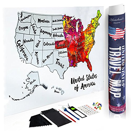 Blanchard's Enterprises Scratch Off Map of The United States - Beautiful Watercolors - Scratch Off Silver Foil to Reveal USA Scratch Map 12x18 US Map for Travelers - Full Accessory KIT Included! by Blanchard's Enterprises