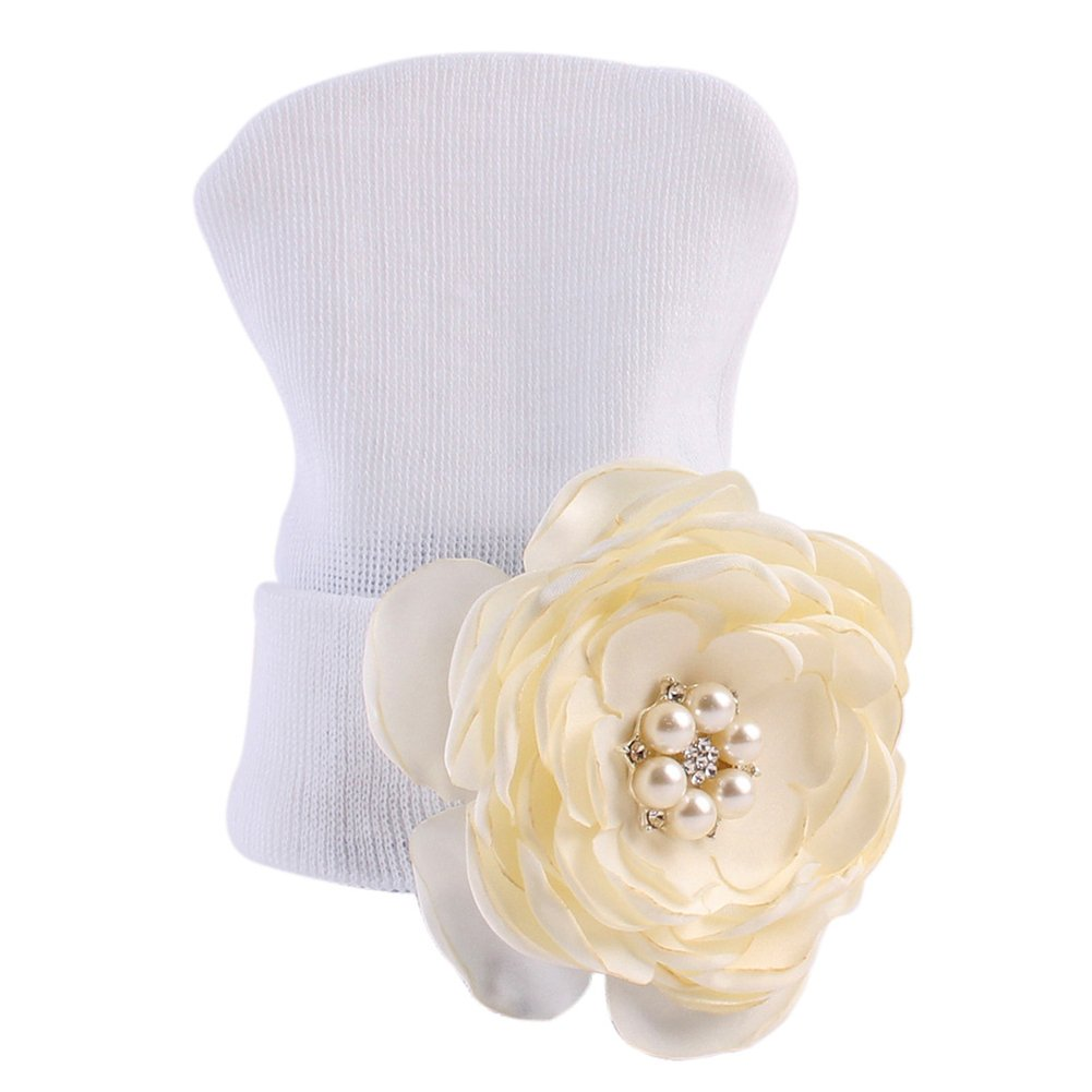 Bluelans Lovely Baby Infant Flower Cotton Pearl Hat Autumn Winter Warm Knit Beanie Cap