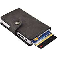 GingkoTree Credit Card Holder RFID Blocking Wallet Slim Wallet PU Leather Vintage Aluminum Business Card Holder Automatic Pop-up Card Case Wallet Security Travel Wallet (Gray)