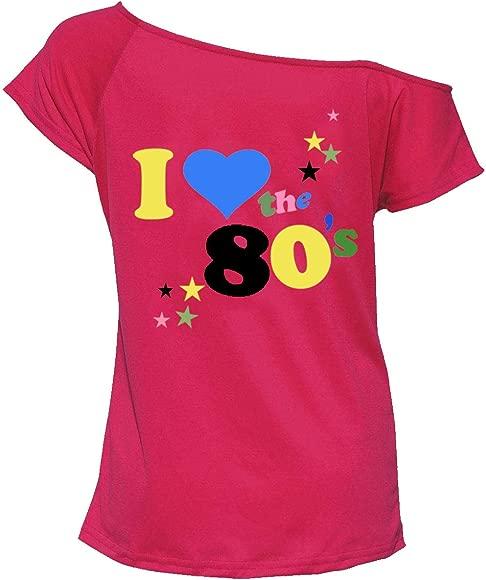 Ladies I Love The 80s T Shirt Short Sleeves Womens Retro Pop Star Tees Top