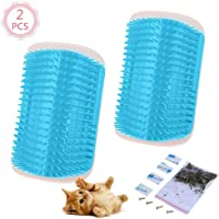 2 Pcs/Set Cat Self Groomer Brush Catnip-Wall Corner Mounted Massage Grooming Comb-Helps Prevent Hairballs and Controls Coming-Safe fortable with Catnip (Sky Blue)