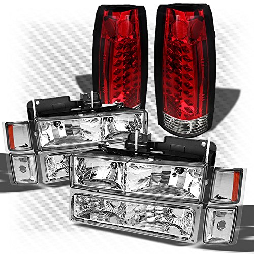 Xtune for 1992-1999 Chevy Tahoe Suburban Headlights Set + Red Clear Philips-LED Performance Tail Lights 1993 1994 1995 1996 97 ()