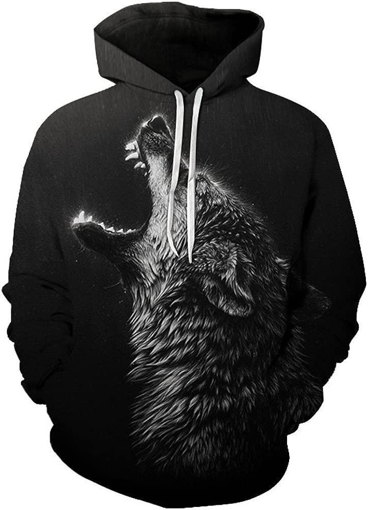 DE3D hoodie Howling Rain Wolf Sudaderas con Capucha para Hombres ...