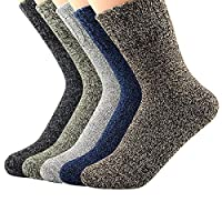 Durio Boot Socks for Women Duck Boot Socks Winter Warm Thermal Wool Socks Fuzzy Crew Socks Bombas Cabin Socks Christmas Gift 5 Pack Solid A