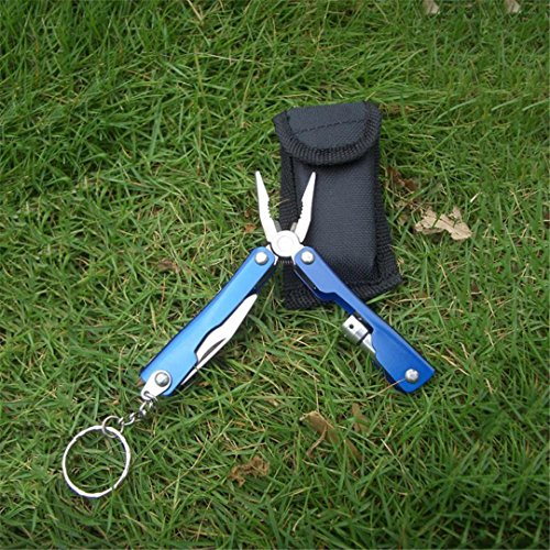 Outdoor Survival Stainless Steel Pliers Portable Compact Knives Opener Camping Hiking Tools blue