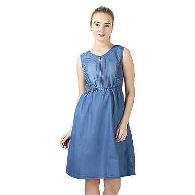 e549985fd60 Trayie Fashion Women Pure Denim Knee Length Western Dress (Large ...