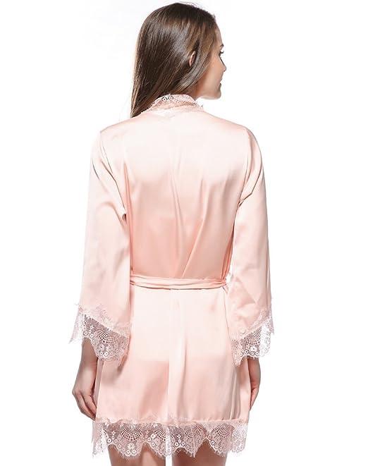 Targogo Batas Mujer Cortas Albornoz Kimono Color Sólido Elegantes Cómodos Suave Ropa Sleepwear Fiesta Encaje Lace Pijama Camisones V Cuello con Cinturón: ...