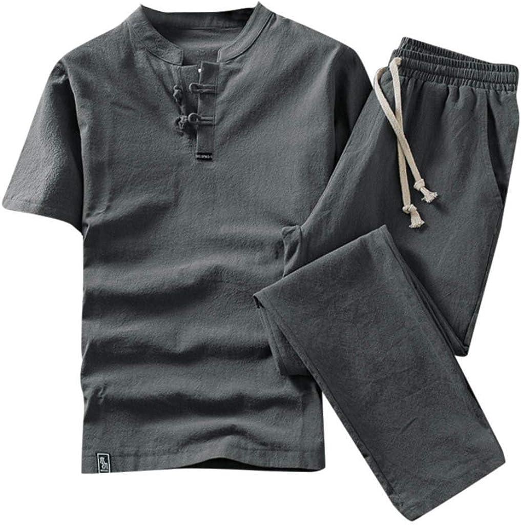 Kstare Linen Men Sets Outfits Shorts Mens Cotton Linen Summer 2 Piece Retro Button Short Sleeve Shirt Long Pants