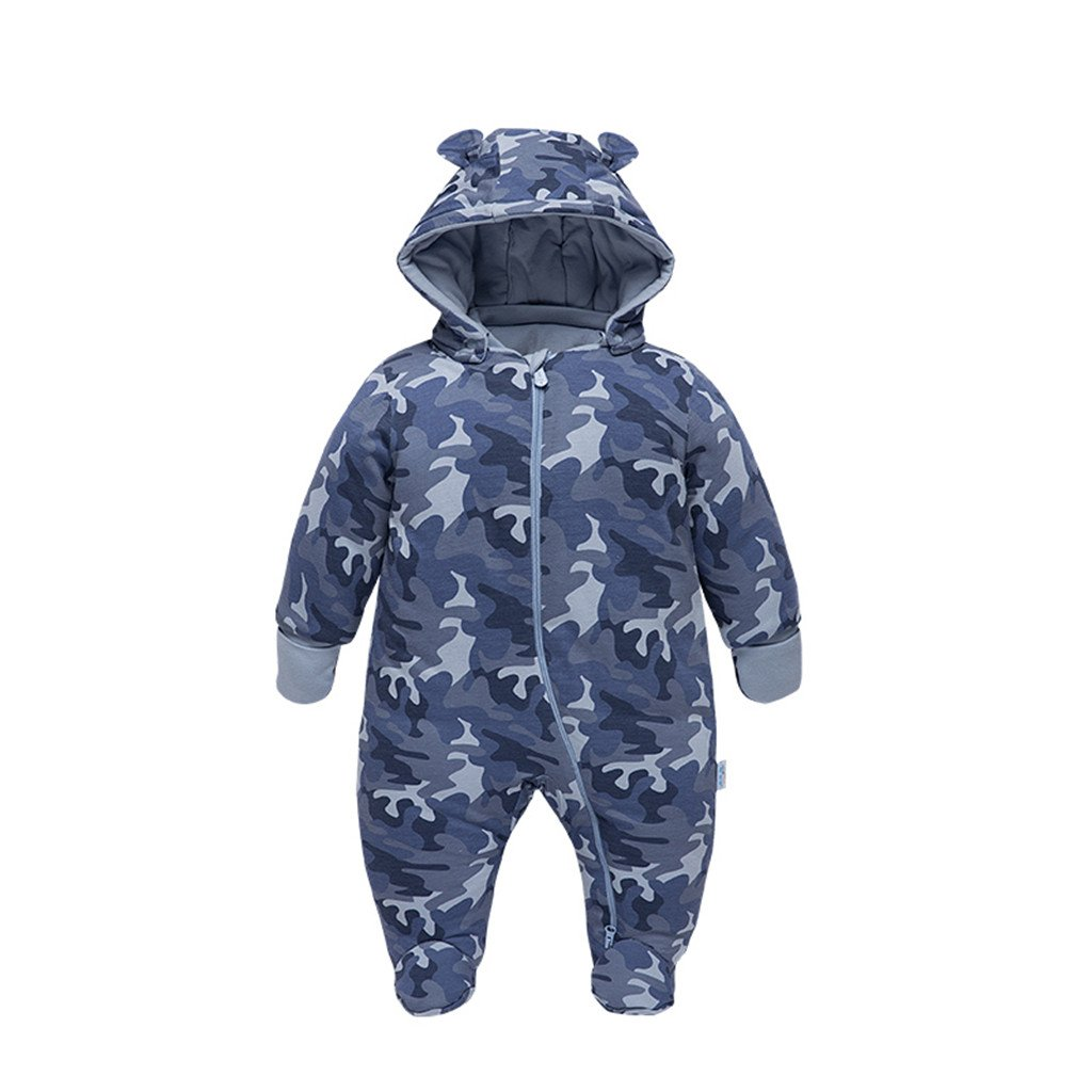 Vine Baby Snowsuits Hooded Romper Winter Jumpsuit Onesies Outfits Camouflage