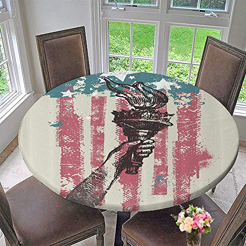 Mikihome Chateau Easy-Care Cloth Tablecloth USA Patriot Sign th of July Country Coat of Arms Bathroom 55