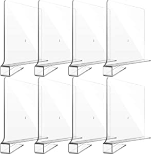 8 Pack Clear Acrylic Shelf Dividers for Closet, Wood Shelf Organizer, Multi-Functional Wood Closet Separator for Storage and Organization in Bedroom, Kitchen and Office, No Installation Tools Required