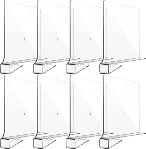 Kitchen and Office Clear Acrylic Shelf Dividers for Closet Transparent Closet Organizer Divider Multi-Functional Wood Closet Separator for Storage and Organization in Bedroom 4 Pieces