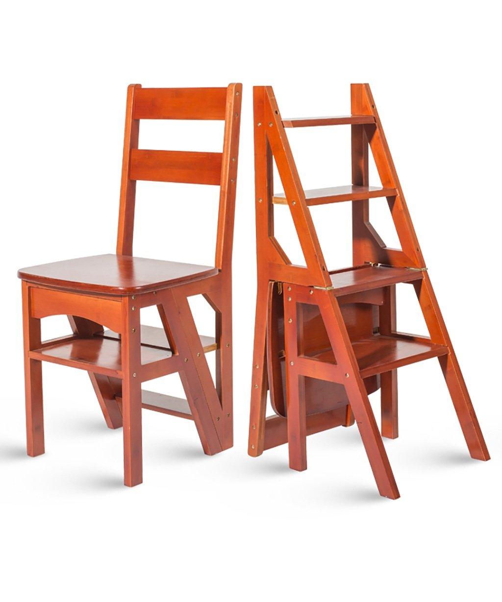 ZEMIN ダイニングチェア椅子の木の木製折り畳み 木製折りたたみ式背もたれ椅子4段階段階段多機能、4色使用可能、40 * 39 * 89CM ( 色 : ブラウン ぶらうん ) B078WP7B9C ブラウン ぶらうん ブラウン ぶらうん