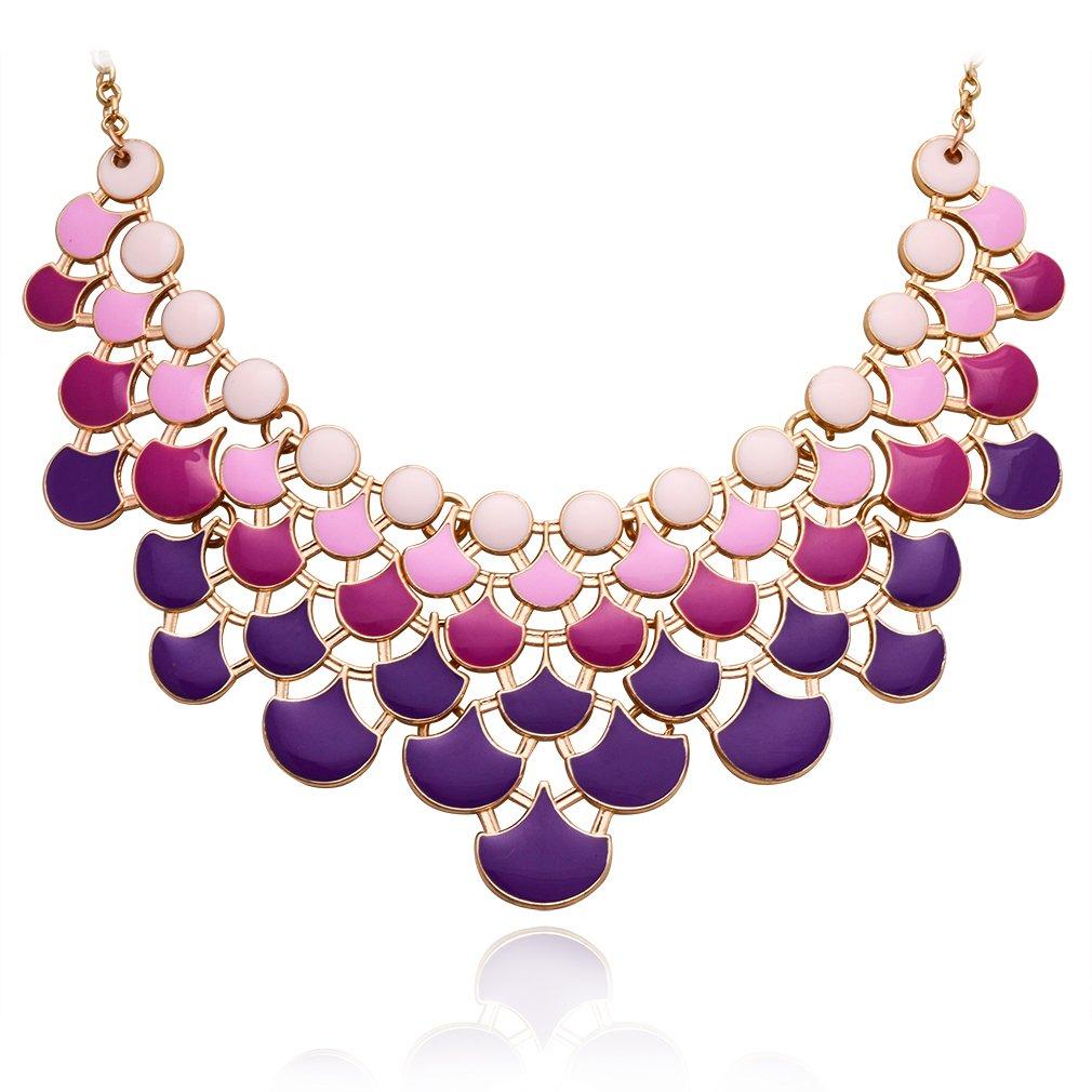 Jane Stone Ombre Purple Fashion Bib Collar Necklace Multicolor Enamel Gold Statement Jewelry for Women(Fn0968-Ombre Purple)