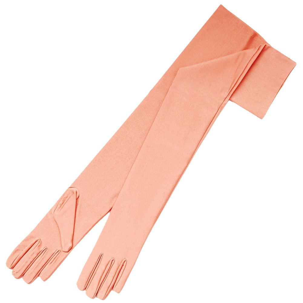ZaZa Bridal 23.5'' Long 4-Way Stretch Matte Finish Satin Dress Gloves Opera Length 16BL-Peach