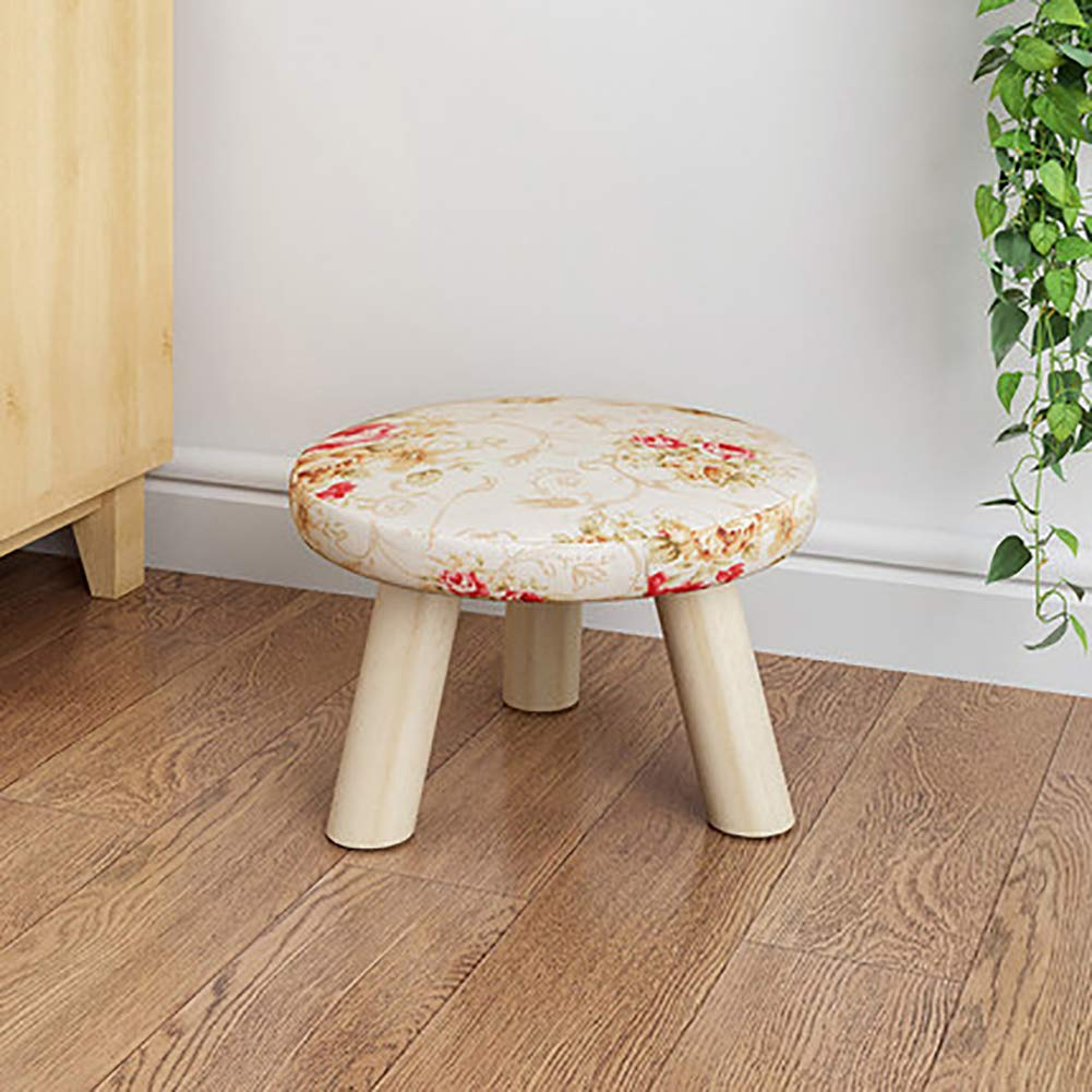 D L Solid Wood Round Footstool Ottoman Pouffe Cute Stool For Kids Thicken Cushion 4 Legs Removable Linen Cover A L28xw28xh19cm Furniture Kolenik Ottomans Storage