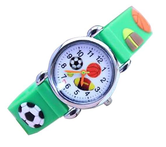 Los niños dibujos animados relojes relojes de cuarzo de silicona de los niños de fútbol para niños de muñeca de moda los relojes de pulsera verde: ...