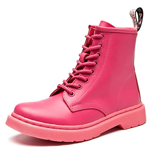 ef384cc4e0c fereshte Women's Leather Motorcycle Combat Boots Fashion Martins Boots  Lace-up Flat Ankle Bootie