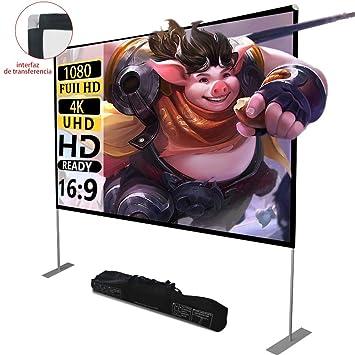 Pantalla de proyector con soporte100 Inch 16: 9 HD FáCil ...