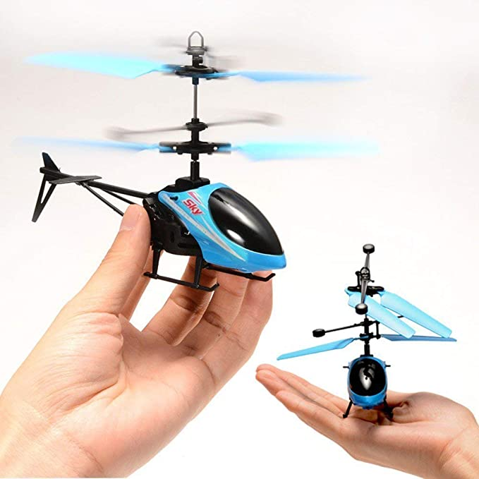 Toyswala Hand Induction Control Flying Helicopter Toy with Infrared Sensor, USB Charger and Flashing Light for Kids (Multicolour)