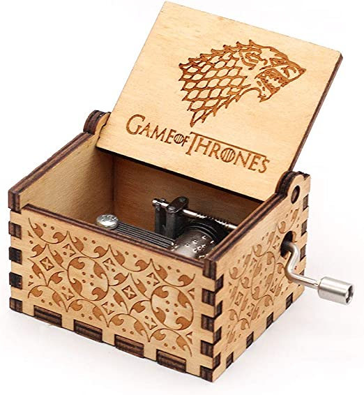 Game of Thrones Music box Hand Crank Musical Box Carved Wooden Musical Gift,Play the Theme Song of Game of Thrones,Blue