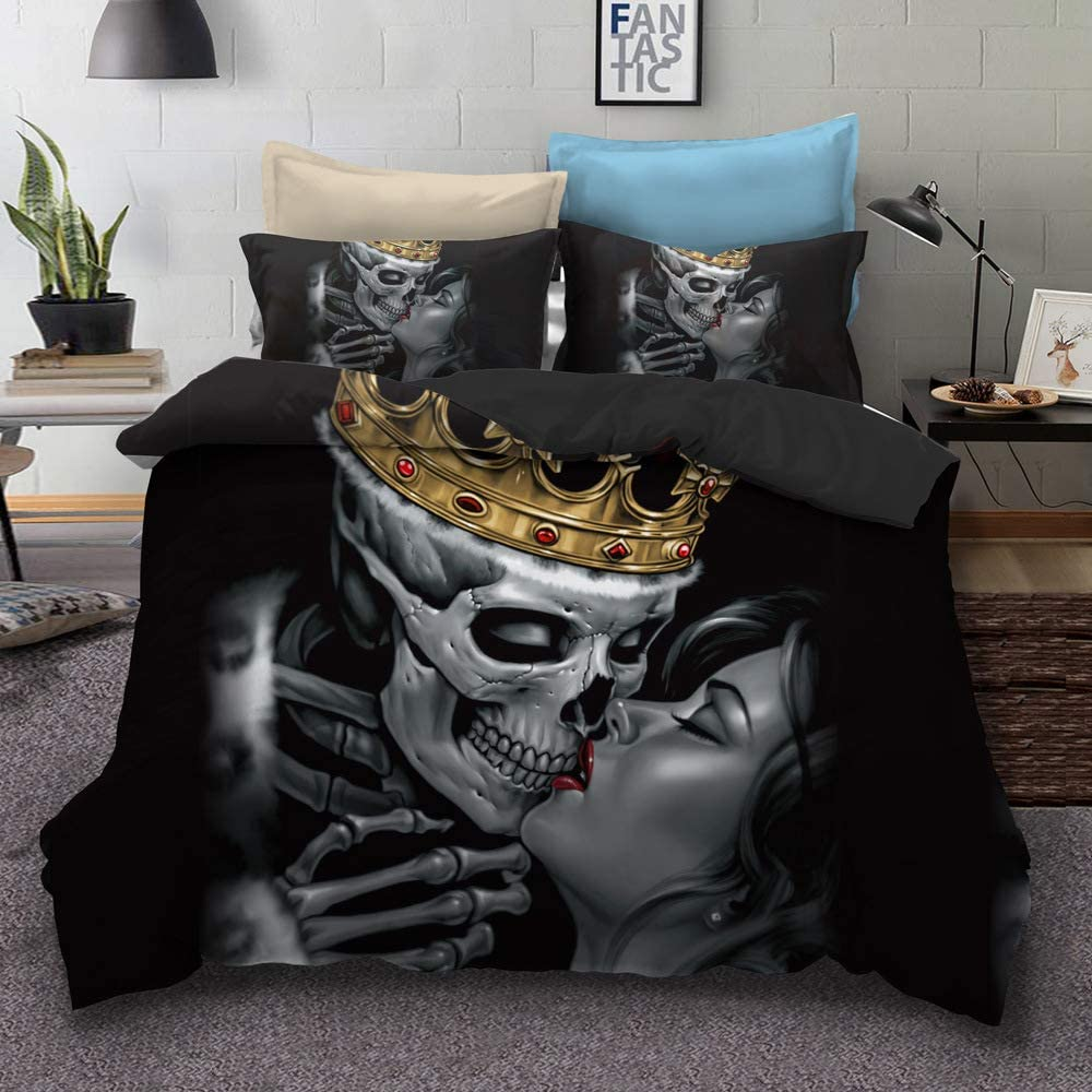 SDIII 3PC The Dead Couple Set Heart Kiss Decorative Full/Queen Size Duvet Cover Set Skull Bedding Sets