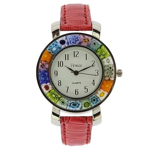 GlassOfVenice Serena Murano Millefiori - Reloj con correa de piel, color rojo: Amazon.es: Relojes