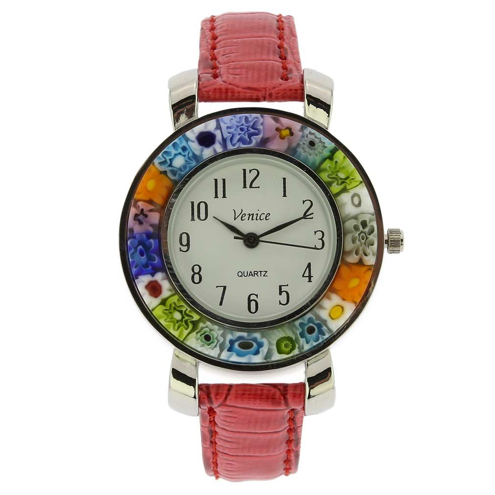 GlassOfVenice Serena Murano Millefiori Watch with Leather Band - Red