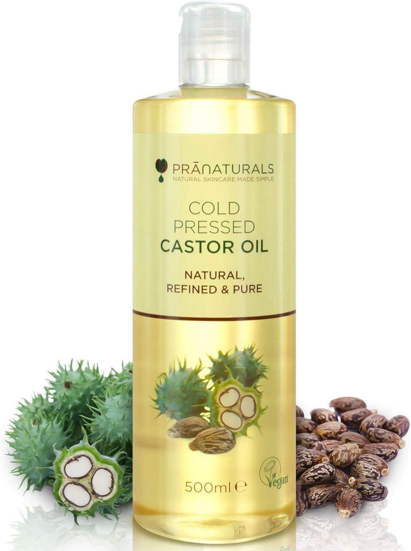 Aceite de ricino prensado en frío PraNaturals 500ml. 100% vegano y natural. Para mejorar el crecimiento del pelo y las pestañas y obtener una piel más suave. Rico en omega 6 y omega 9