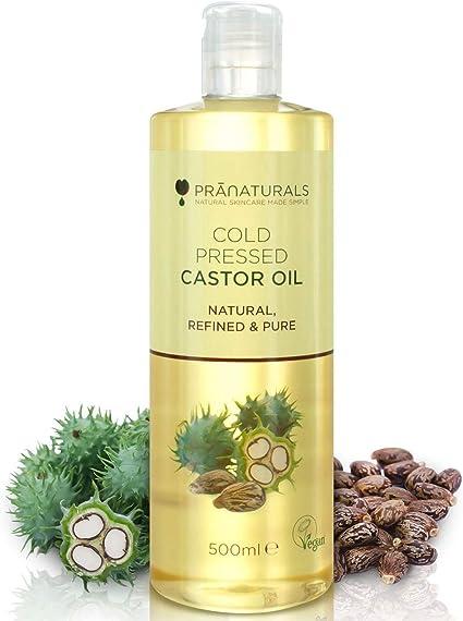 Aceite de ricino prensado en frío PraNaturals 500ml. 100% vegano y natural. Para mejorar el
