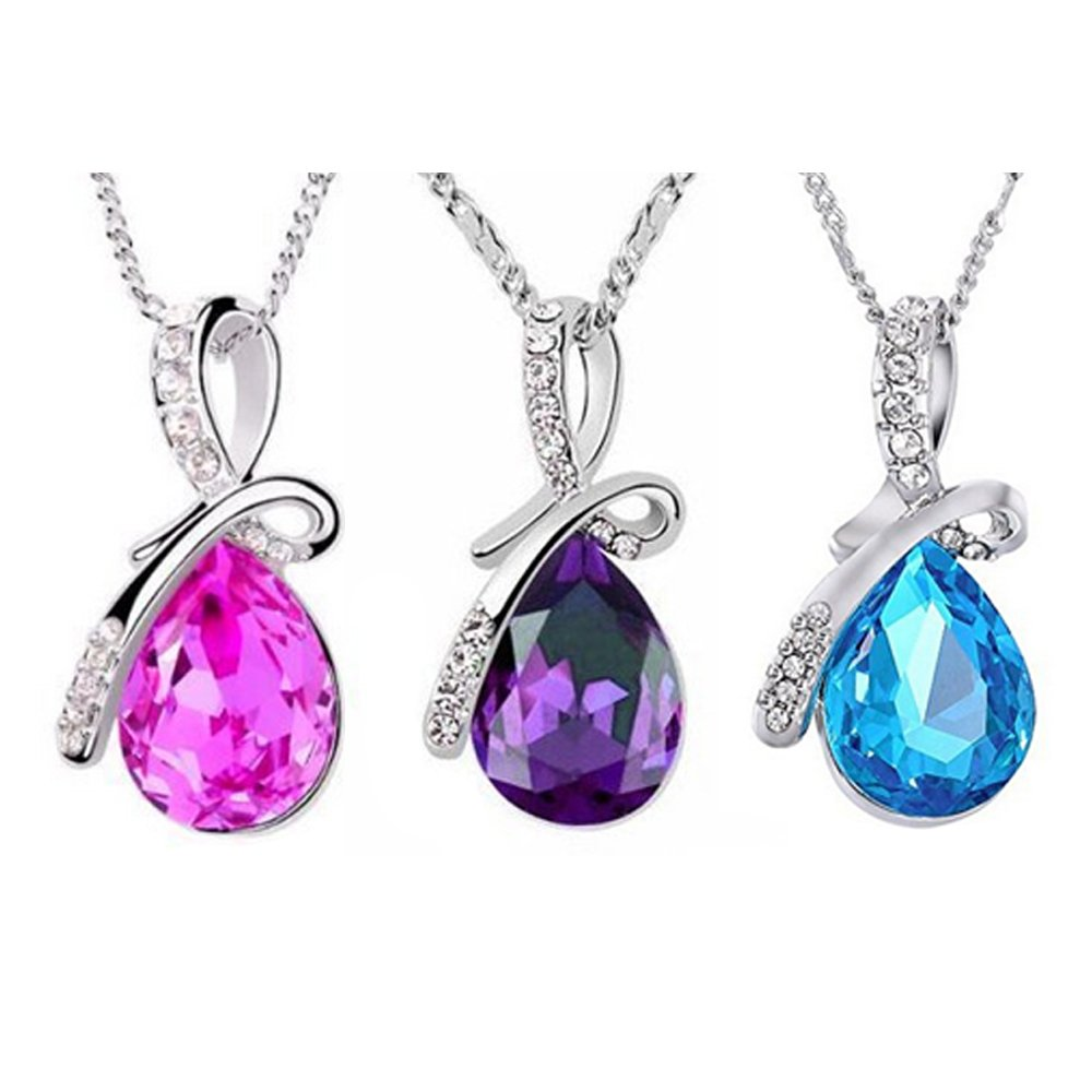 Fantastic Deal Jewellery Set Kit of 3 Charming Classy Necklaces With Tear Drop Shaped Crystals / Rhinestones / Gemstones Pendants In Purple, Blue And Rose Pink And Ribbon Shaped Silver Coloured Decorations On Chains By VAGA®