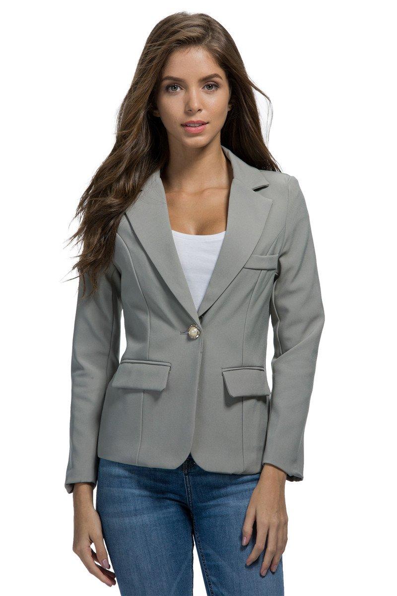 My Wonderful World Women's Lapel 1 Button Casual Short Blazer tag Asian Small (US 0) Gray Blazer