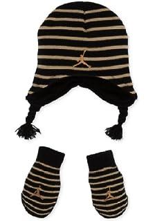 24e5946f164 Amazon.com  Nike Jordan Baby Fleece Hat and Mittens Set - Black Red ...