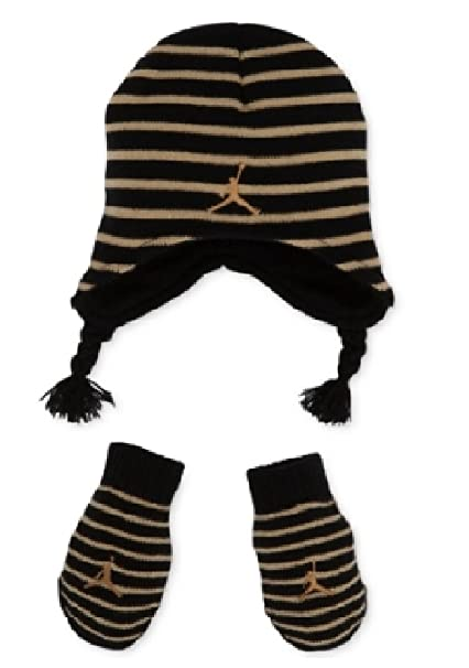 Image Unavailable. Image not available for. Color  Nike Jordan Little Boy s  2 4T Striped Knit Beanie Hat   Mittens Set e060204151ee