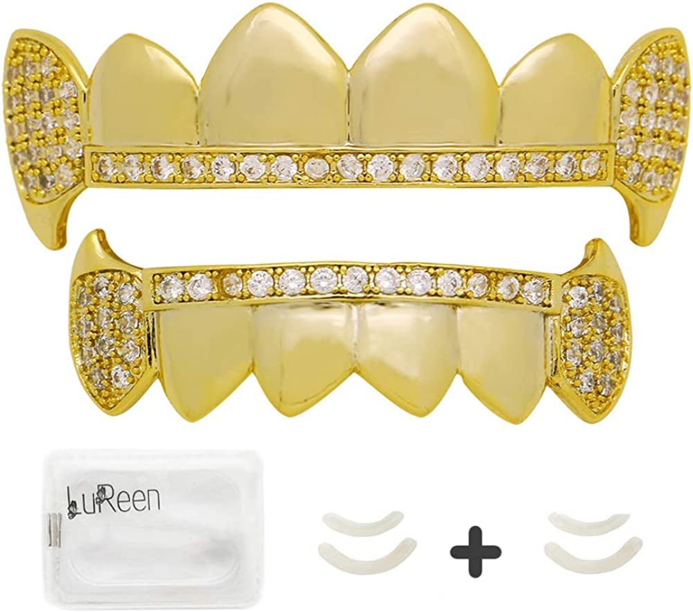 LuReen Gold Teeth Grillz Diamond Pave CZ 6 Top Bottom Grills for Men Women + Extra 2 Molding Bars