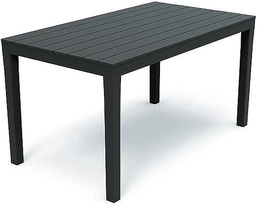 FineHome Mesa de comedor, plástico, 138 x 80 x 72 cm, antracita, rectangular, mesa de balcón, mesa de jardín, mesa de terraza: Amazon.es: Jardín