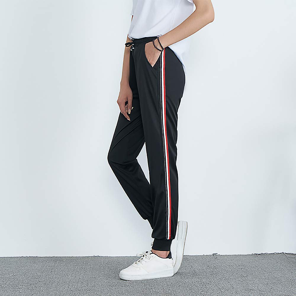 JESPER Womens Mid-Waist Drawstring Waist Striped Side Jogger Sweatpants with Pocket