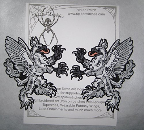Pair White Rampant Griffin Heraldic Heraldry Iron on Patch Medieval Renaissance