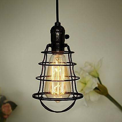 COOLWEST Mini Vintage Edison Hanging Caged Pendant Light Fixture Adjustable  Black Cord For Home Kitchen Lighting