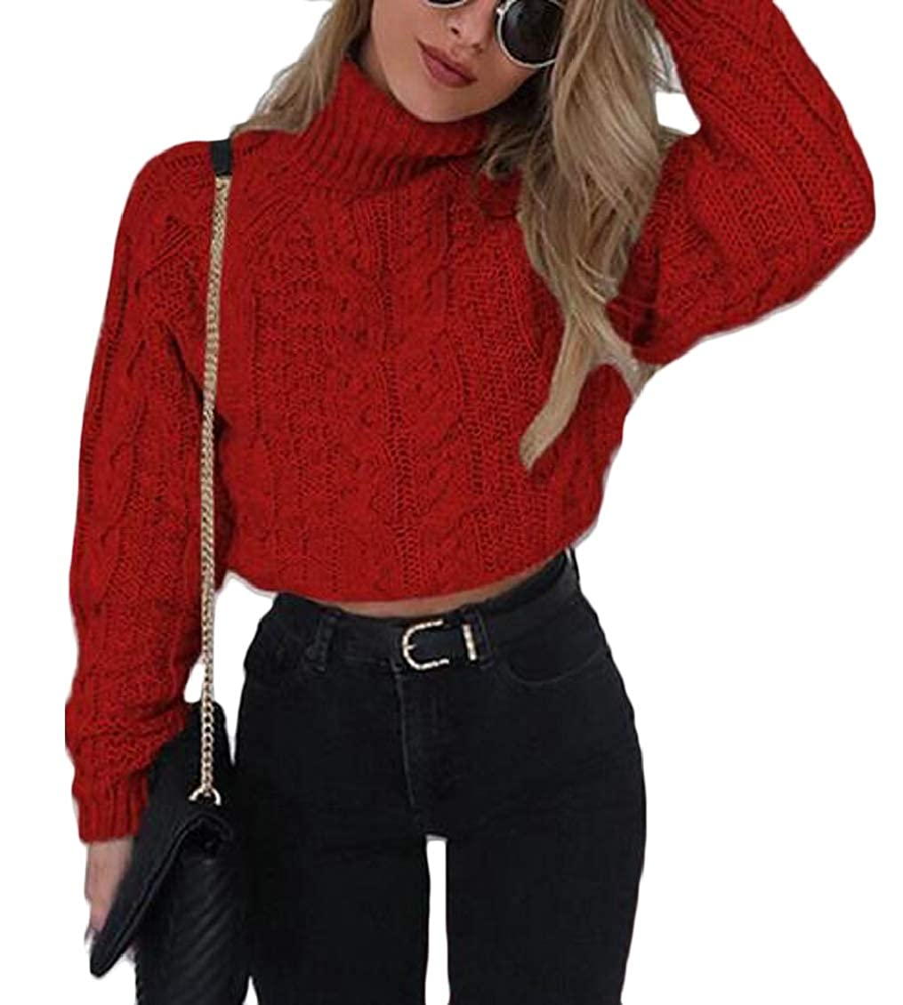 TD-CACA Womens Turtleneck Long Sleeve Cable Knit Loose Crop Sweater