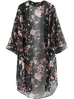 BLUETIME Womens 3/4 Sleeve Floral High Low Chiffon Kimono Cardigan Blouse