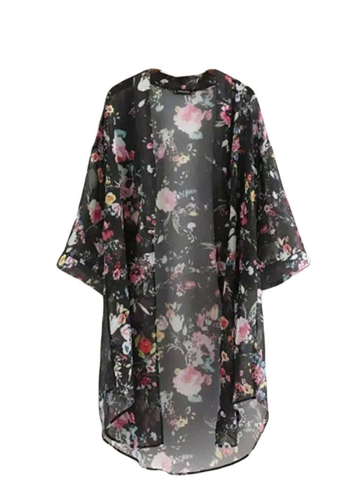 BLUETIME Women's 3/4 Sleeve Floral High Low Chiffon Kimono Cardigan Blouse (M, Black) by BLUETIME (Image #1)