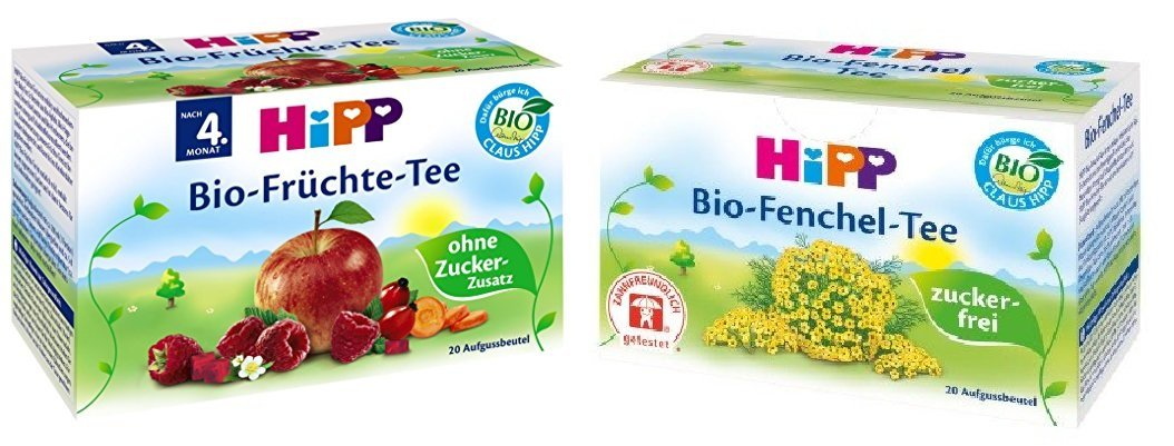 HiPP Set Organic Fennel Tea and Fruit Tea for Babies (2 x 20 Teabags)